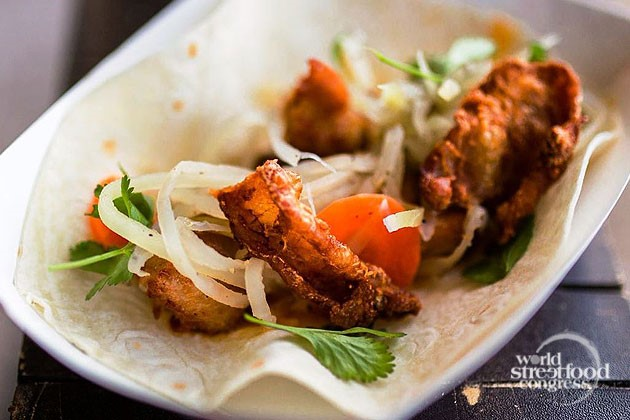 Chicken Inasal Taco with Fried Chicken Skin from East Side King