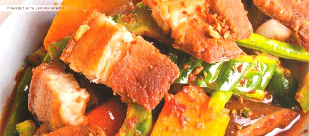 Pinakbet with Lechon Kawali A classic vegetable dish topped with crispy pork belly.