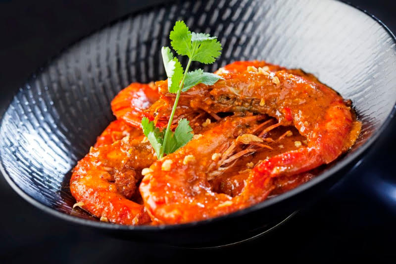 PALAPA : Prawns in spicy palapa, a Maranao spice mix made with sakurab-- a kind of shallot from Mindanao--and enriched with crab fat.