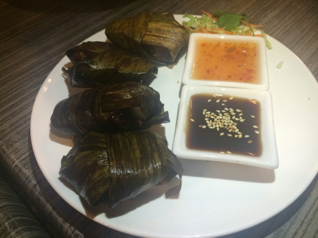 authentic thai food, Siam Noodle House, Noodle Soup,Chicken Wrapped in Pandan Leaves