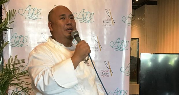 Chef Myke Tatung Sarthou during the press conference at Agos MOA